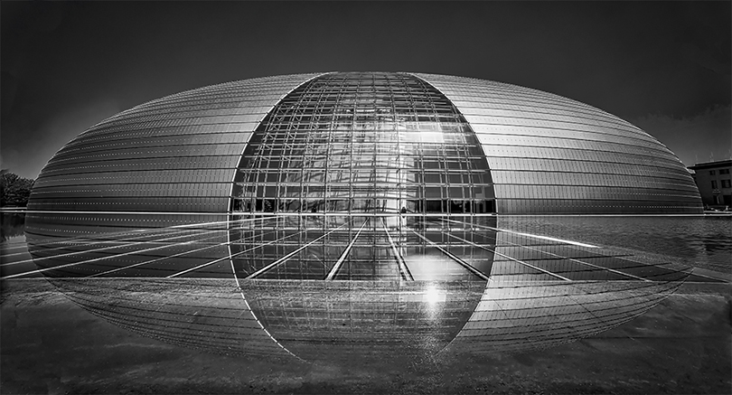 "National Center for the Performing Arts in Beijing, also known as ""The Egg"", viewed from the back."