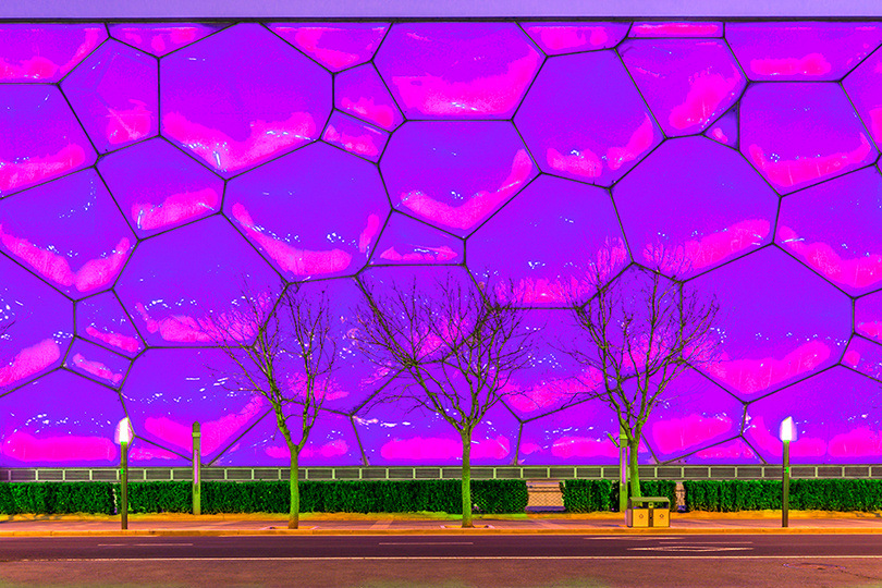 "The National Aquatics Center in Beijing, also known as ""The Water Cube"", viewed from the Olympic Boulevard."