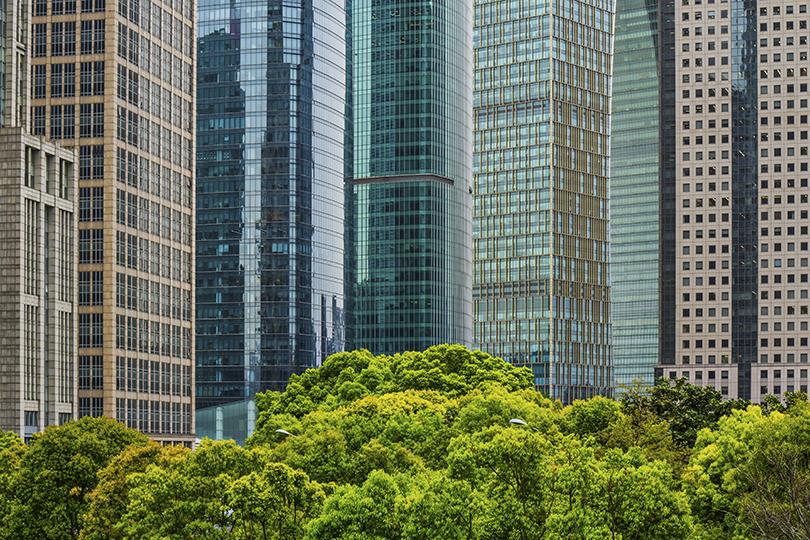 Wall to wall view of Shanghai's Pudong office towers.