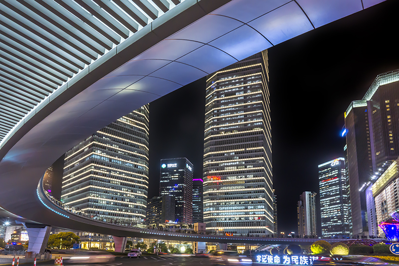 A view of Shanghai's Pudong area at night.