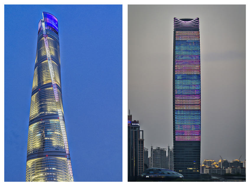 "The Shanghai ""Twisting"" Tower (left), the tallest building in Shanghai and The Shanghai White Magnolia Plaza (right)."