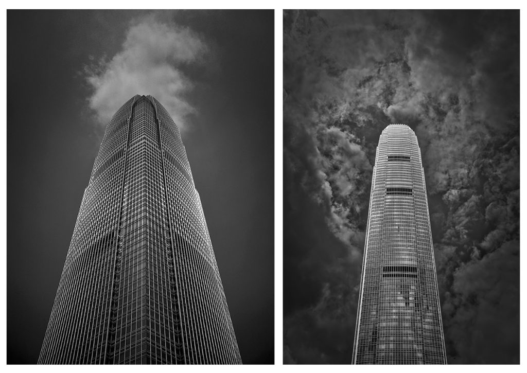 Hong Kong International Finance Center Tower 2 taken with a 24mm equivalent lens (left) and Hong Kong International Finance Center Tower 2 viewed from a different perspective (right).
