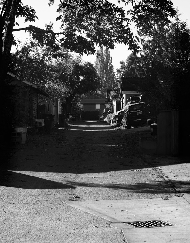 A plain photograph of an ordinary alley, with morning sunlight casting strong shadows from left to right.