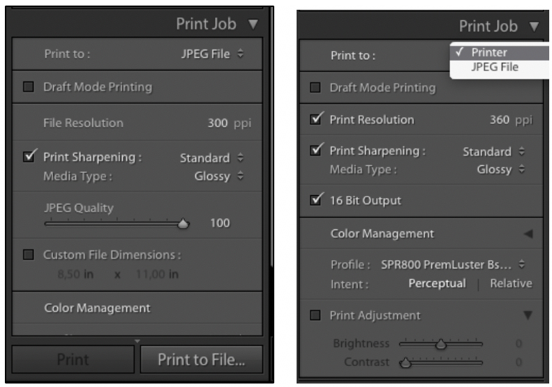 The Print job dialog box for jpeg (left) and Printer (right)